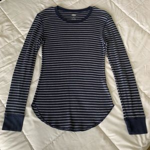 White & Navy Blue Striped Long Sleeve